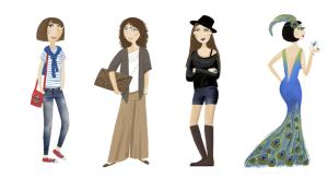 profilů ženy oblečení