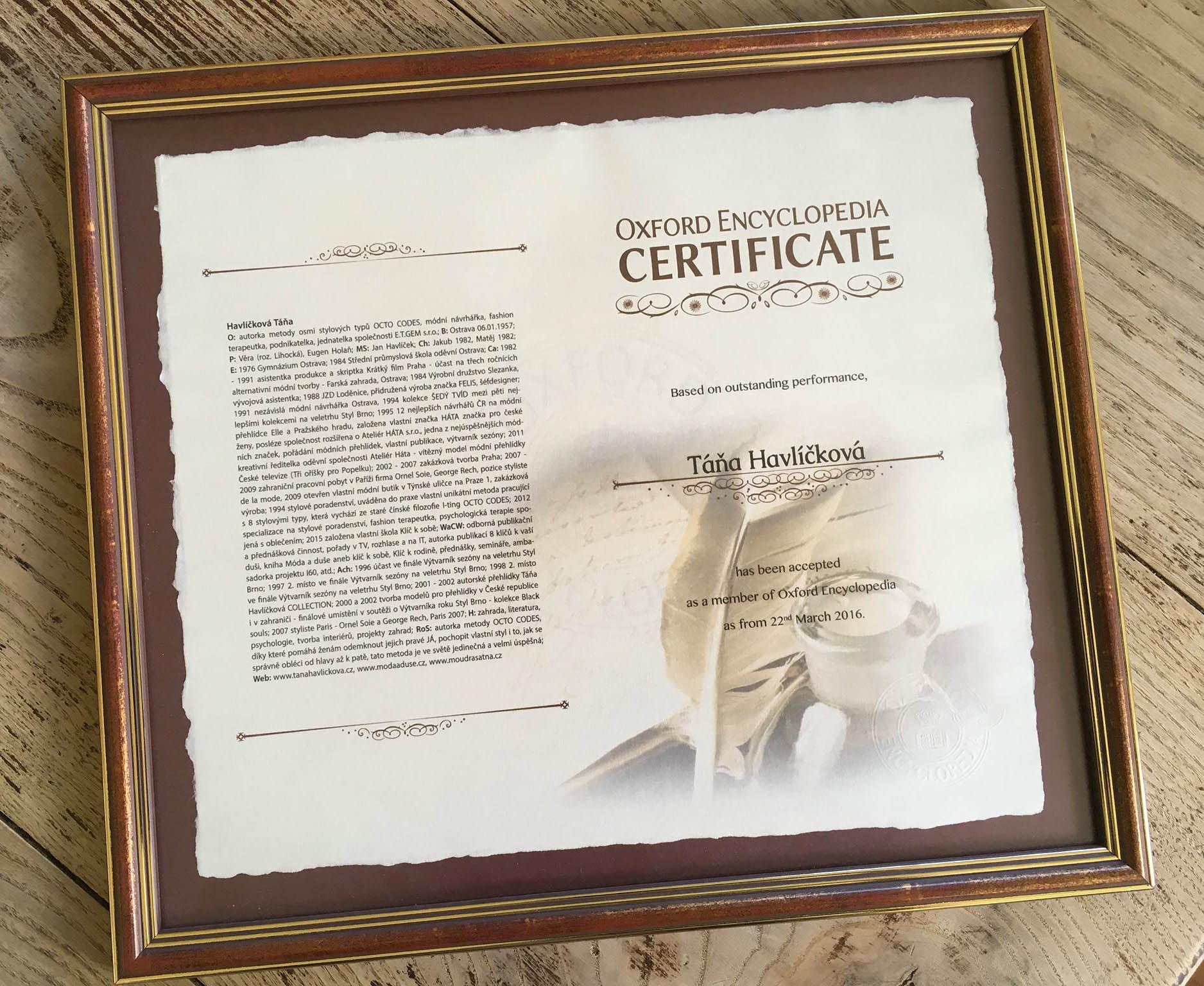 Táňa Havlíčková Oxford Encyklopedia Certifikát